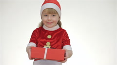 Kid girl offering a gift in a red box Stock Footage