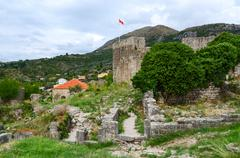 Ruins of ancient fortress in Old Bar, Montenegro - stock photo