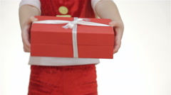Close up hands of a girl offers a gift Stock Footage