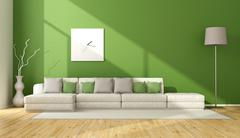Contemporary green living room - stock illustration