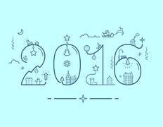 Inscription of New Year 2016 with decoration - stock illustration
