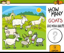counting task with goats cartoon - stock illustration