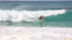 Boogie Boarding at Sandy Beach in Oahu Hawaii Stock Footage