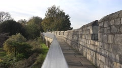 York city walls medieval and roman defences Stock Footage