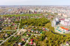 Aerial view on sleeping neighborhood. Tyumen. Russia - stock photo