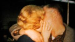 Woman Kissing At Office Christmas Party-1962 Vintage 8mm film - stock footage