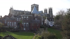 York minister cathedral against sky, historical city cityscapes - stock footage