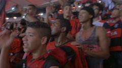Fans chanting at Maracana stadium Stock Footage