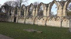 York saint marys abby christian ruins Stock Footage