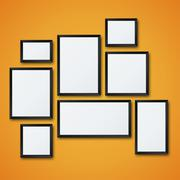 Vector blank picture frame set on orange wall - stock illustration