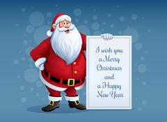 Merry Santa Claus standing with christmas greetings banner in arm Stock Illustration