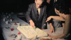 Cutting Big Cake At Office Christmas Party Stock Footage