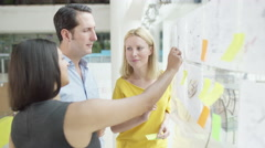 4K Creative design business team brainstorming for ideas with sticky notes Stock Footage