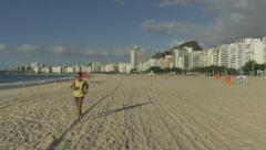 Stock Video Footage of Morning jog on Copacabana beach