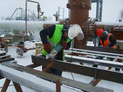 SURGUT, NOVEMBER 26, 2008: Construction of an oil and gas pipeline. - stock photo