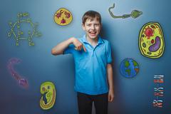boy points his finger down and laughing joy fun icons biology ed - stock photo