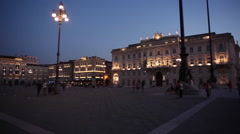 View of central square in Trieste Stock Footage