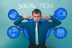 Man in shirt tie his ears fingers deaf social media infographics Stock Photos