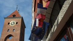Flags of countries about Market Gate in Elblag Stock Footage