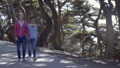Trendy Gay Couple Hold Hands And Walk In Park, San Francisco Stock Footage