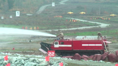 Direct fire suppression vehicle MPT-521 in action - stock footage
