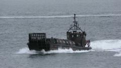 Portuguese amphibious Landing Craft conducts coordinated assault Stock Footage