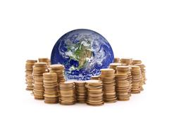 World standing on money. Earth image provided by Nasa. Stock Photos