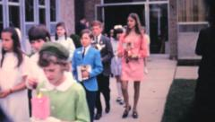 Stock Video Footage of First Communion Processional-1962 Vintage 8mm film