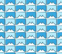 Stock Illustration of blue tile pattern mountain peaks