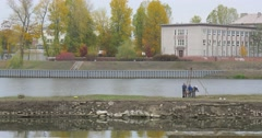 Drilling Core Analysis Construction Works Workers In Blue Work Suits Odra River Stock Footage
