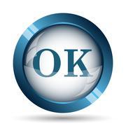 OK icon. Internet button on white background.. - stock illustration