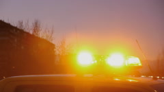 Emergency strobe lights Car Stock Footage