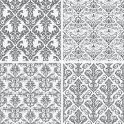 Four Seamless Damask Wallpaper - stock illustration