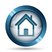 Home icon. Internet button on white background.. - stock illustration