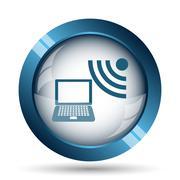 Wireless laptop icon. Internet button on white background.. - stock illustration