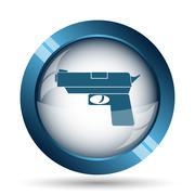 Stock Illustration of Gun icon. Internet button on white background..