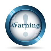 Warning icon. Internet button on white background.. - stock illustration