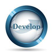 Develop icon. Internet button on white background.. - stock illustration