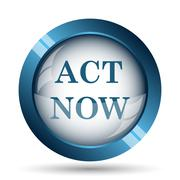 Act now icon. Internet button on white background.. - stock illustration