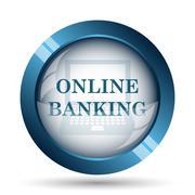 Online banking icon. Internet button on white background.. - stock illustration