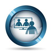 Stock Illustration of Video conference, online meeting icon. Internet button on white background..