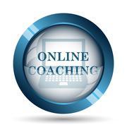 Online coaching icon. Internet button on white background.. - stock illustration