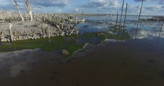 Aerial drone scene of flooded destroyed city. Epecuen. Stock Footage