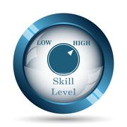 Skill level icon. Internet button on white background.. - stock illustration