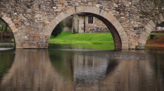 Arch stone bridge in the River Stock Footage
