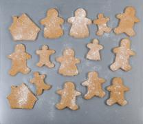 Family member shaped cookies ready to bake for the holiday season - stock photo