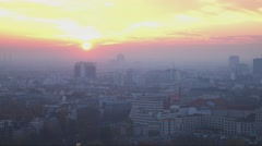 Sunset over the city of Berlin - stock footage