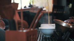 Traditional chinese tea ceremony on the tea table, pan, slow motion Stock Footage