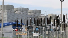High-voltage electrical power supply substation - stock footage