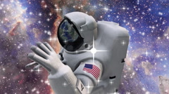 The astronaut in outer space zoom in - stock footage